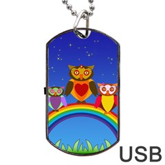 Owls Rainbow Animals Birds Nature Dog Tag Usb Flash (two Sides) by Amaryn4rt