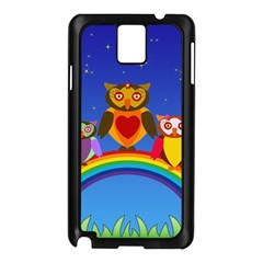Owls Rainbow Animals Birds Nature Samsung Galaxy Note 3 N9005 Case (black) by Amaryn4rt