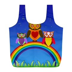 Owls Rainbow Animals Birds Nature Full Print Recycle Bags (l)  by Amaryn4rt