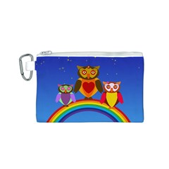 Owls Rainbow Animals Birds Nature Canvas Cosmetic Bag (s) by Amaryn4rt