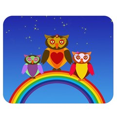 Owls Rainbow Animals Birds Nature Double Sided Flano Blanket (medium)  by Amaryn4rt
