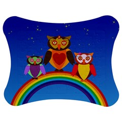 Owls Rainbow Animals Birds Nature Jigsaw Puzzle Photo Stand (bow) by Amaryn4rt