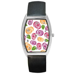 Colorful Seamless Floral Flowers Pattern Wallpaper Background Barrel Style Metal Watch by Amaryn4rt