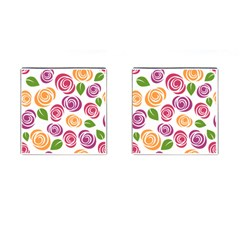 Colorful Seamless Floral Flowers Pattern Wallpaper Background Cufflinks (square)