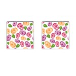 Colorful Seamless Floral Flowers Pattern Wallpaper Background Cufflinks (Square) Front