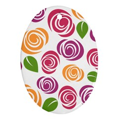 Colorful Seamless Floral Flowers Pattern Wallpaper Background Oval Ornament (two Sides) by Amaryn4rt