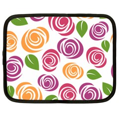 Colorful Seamless Floral Flowers Pattern Wallpaper Background Netbook Case (large) by Amaryn4rt