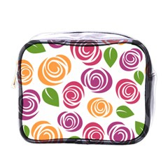 Colorful Seamless Floral Flowers Pattern Wallpaper Background Mini Toiletries Bags by Amaryn4rt