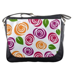 Colorful Seamless Floral Flowers Pattern Wallpaper Background Messenger Bags by Amaryn4rt