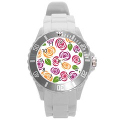 Colorful Seamless Floral Flowers Pattern Wallpaper Background Round Plastic Sport Watch (l) by Amaryn4rt