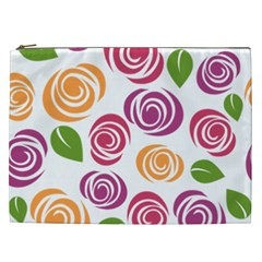Colorful Seamless Floral Flowers Pattern Wallpaper Background Cosmetic Bag (xxl)  by Amaryn4rt