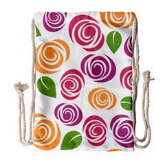 Colorful Seamless Floral Flowers Pattern Wallpaper Background Drawstring Bag (large) by Amaryn4rt