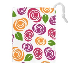 Colorful Seamless Floral Flowers Pattern Wallpaper Background Drawstring Pouches (xxl) by Amaryn4rt