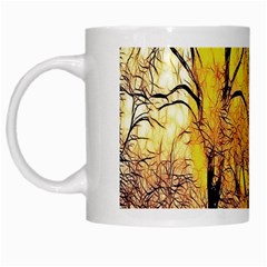 Summer Sun Set Fractal Forest Background White Mugs by Amaryn4rt