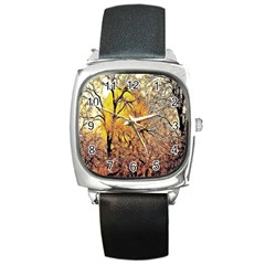 Summer Sun Set Fractal Forest Background Square Metal Watch by Amaryn4rt