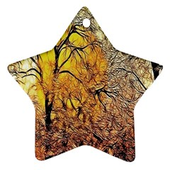 Summer Sun Set Fractal Forest Background Star Ornament (two Sides) by Amaryn4rt