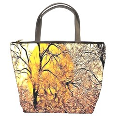 Summer Sun Set Fractal Forest Background Bucket Bags by Amaryn4rt
