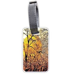 Summer Sun Set Fractal Forest Background Luggage Tags (one Side)  by Amaryn4rt