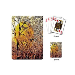 Summer Sun Set Fractal Forest Background Playing Cards (mini)  by Amaryn4rt