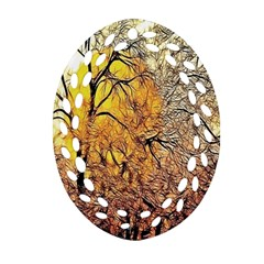 Summer Sun Set Fractal Forest Background Ornament (oval Filigree) by Amaryn4rt