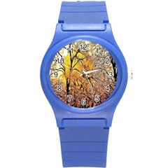 Summer Sun Set Fractal Forest Background Round Plastic Sport Watch (s) by Amaryn4rt
