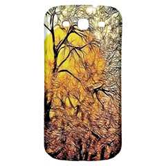 Summer Sun Set Fractal Forest Background Samsung Galaxy S3 S Iii Classic Hardshell Back Case by Amaryn4rt