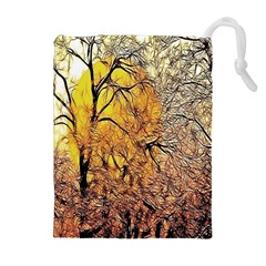 Summer Sun Set Fractal Forest Background Drawstring Pouches (extra Large) by Amaryn4rt