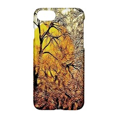 Summer Sun Set Fractal Forest Background Apple Iphone 7 Hardshell Case by Amaryn4rt