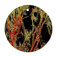 Artistic Effect Fractal Forest Background Ornament (round)