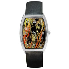 Artistic Effect Fractal Forest Background Barrel Style Metal Watch by Amaryn4rt