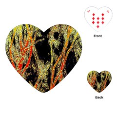 Artistic Effect Fractal Forest Background Playing Cards (heart)  by Amaryn4rt