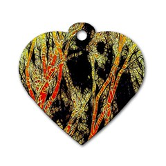Artistic Effect Fractal Forest Background Dog Tag Heart (two Sides) by Amaryn4rt