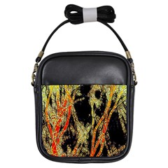 Artistic Effect Fractal Forest Background Girls Sling Bags by Amaryn4rt