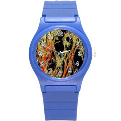 Artistic Effect Fractal Forest Background Round Plastic Sport Watch (s) by Amaryn4rt