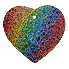 Bubbles Rainbow Colourful Colors Ornament (heart) by Amaryn4rt
