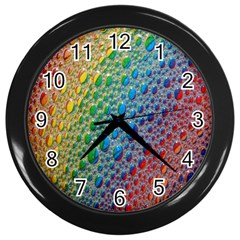 Bubbles Rainbow Colourful Colors Wall Clocks (black) by Amaryn4rt