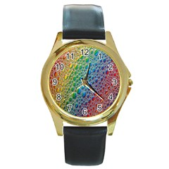 Bubbles Rainbow Colourful Colors Round Gold Metal Watch by Amaryn4rt