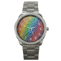 Bubbles Rainbow Colourful Colors Sport Metal Watch by Amaryn4rt