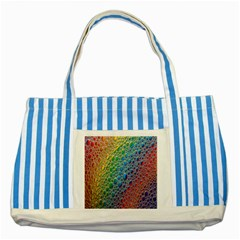 Bubbles Rainbow Colourful Colors Striped Blue Tote Bag by Amaryn4rt