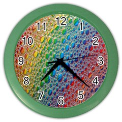 Bubbles Rainbow Colourful Colors Color Wall Clocks by Amaryn4rt