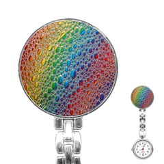 Bubbles Rainbow Colourful Colors Stainless Steel Nurses Watch by Amaryn4rt