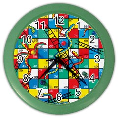 Snakes And Ladders Color Wall Clocks by Amaryn4rt