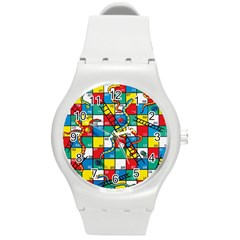 Snakes And Ladders Round Plastic Sport Watch (m) by Amaryn4rt