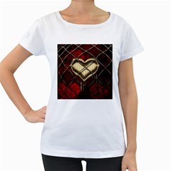 Love Hearth Background Scrapbooking Paper Women s Loose Fit T Shirt (white) by Amaryn4rt