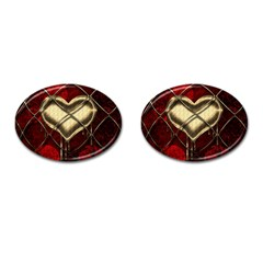 Love Hearth Background Scrapbooking Paper Cufflinks (oval) by Amaryn4rt