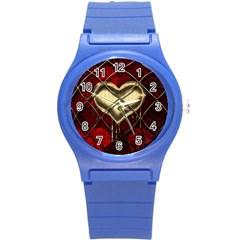 Love Hearth Background Scrapbooking Paper Round Plastic Sport Watch (s) by Amaryn4rt