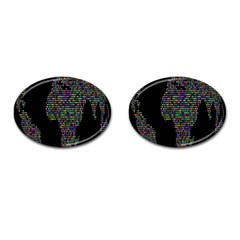 World Earth Planet Globe Map Cufflinks (oval) by Amaryn4rt