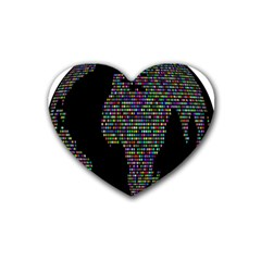 World Earth Planet Globe Map Heart Coaster (4 Pack)  by Amaryn4rt
