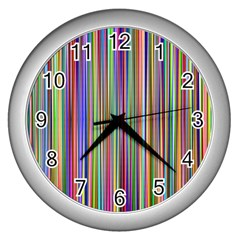 Striped Stripes Abstract Geometric Wall Clocks (silver)  by Amaryn4rt
