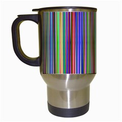 Striped Stripes Abstract Geometric Travel Mugs (white) by Amaryn4rt
